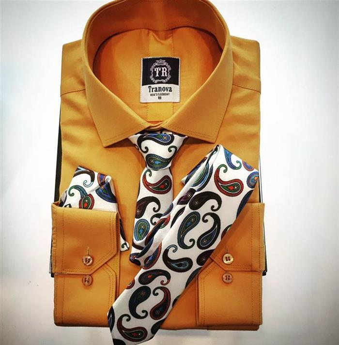 پیراهن رنگی همراه کراوات